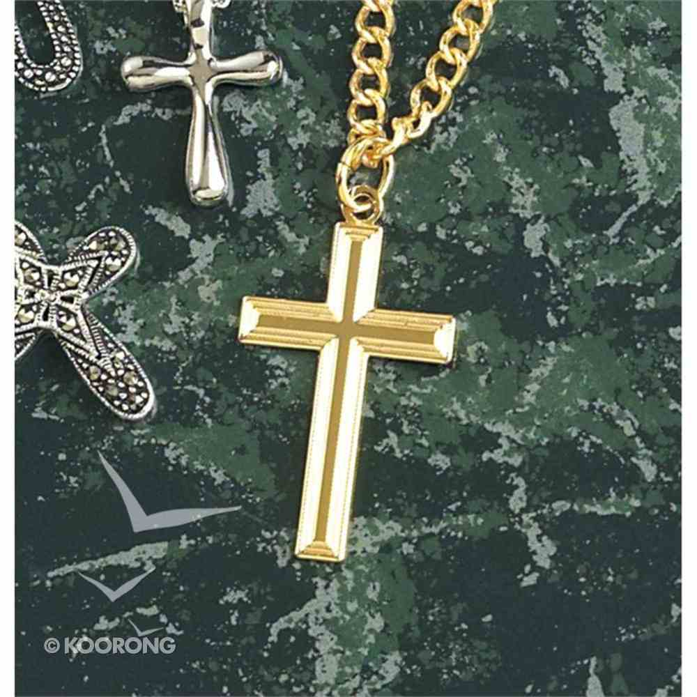Necklace: Gold Plated Large Box Cross on 60Cm Gold Plated Chain Jewellery