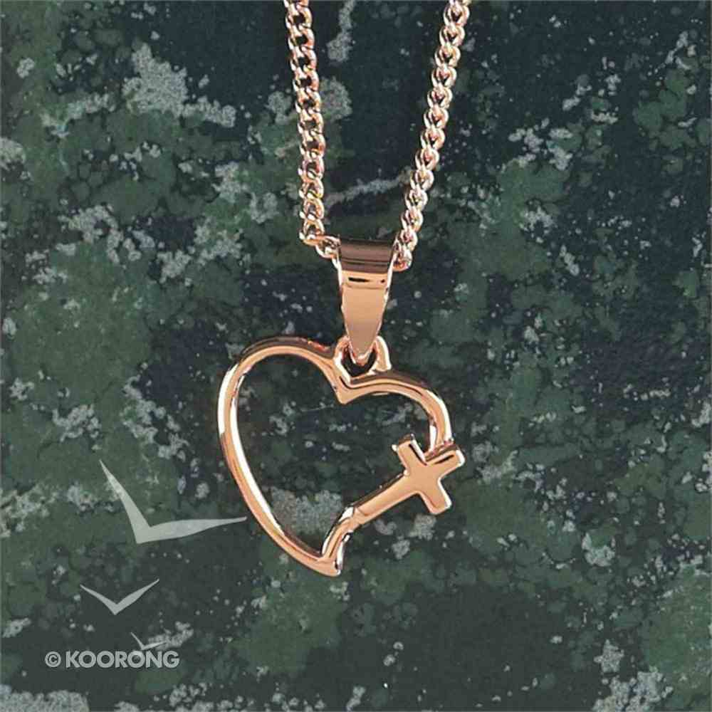 Necklace: Rose Gold Plated Open Heart Cross Necklace on 45Cm Rose Gold Plated Chain Jewellery
