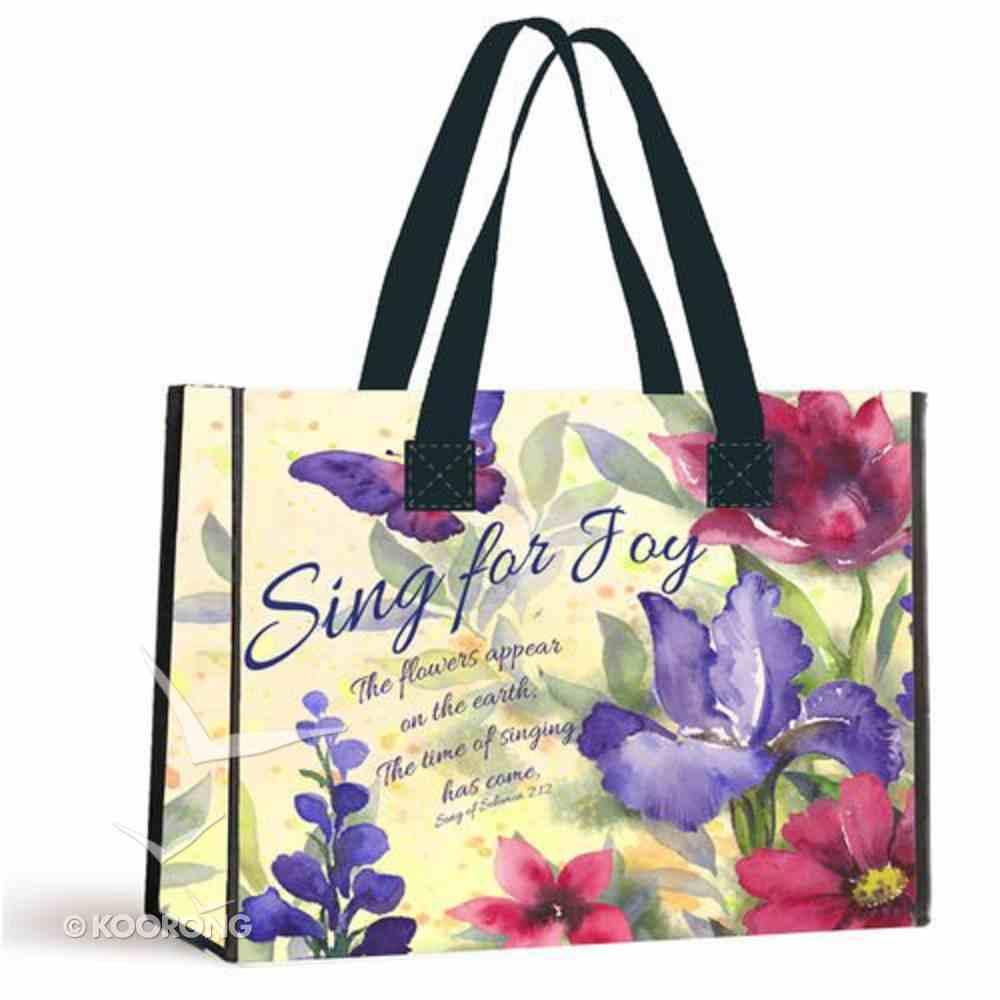 Tote Bag: Sing For Joy Floral/Black Handles (Song Of Solomon 7:12) Soft Goods