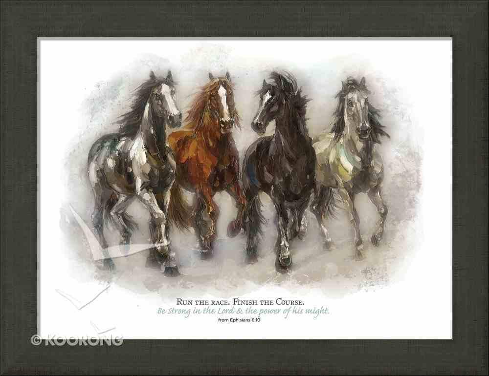 Framed Canvas Print: Run the Race, Horses Running Plaque