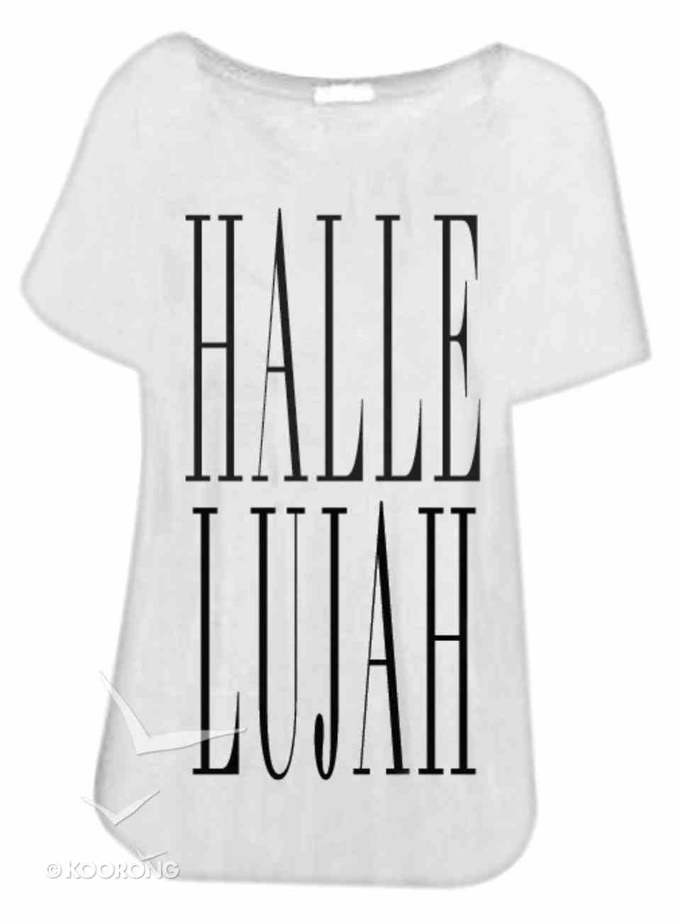 T-Shirt: Hallelujah Medium White/Black Writing Soft Goods