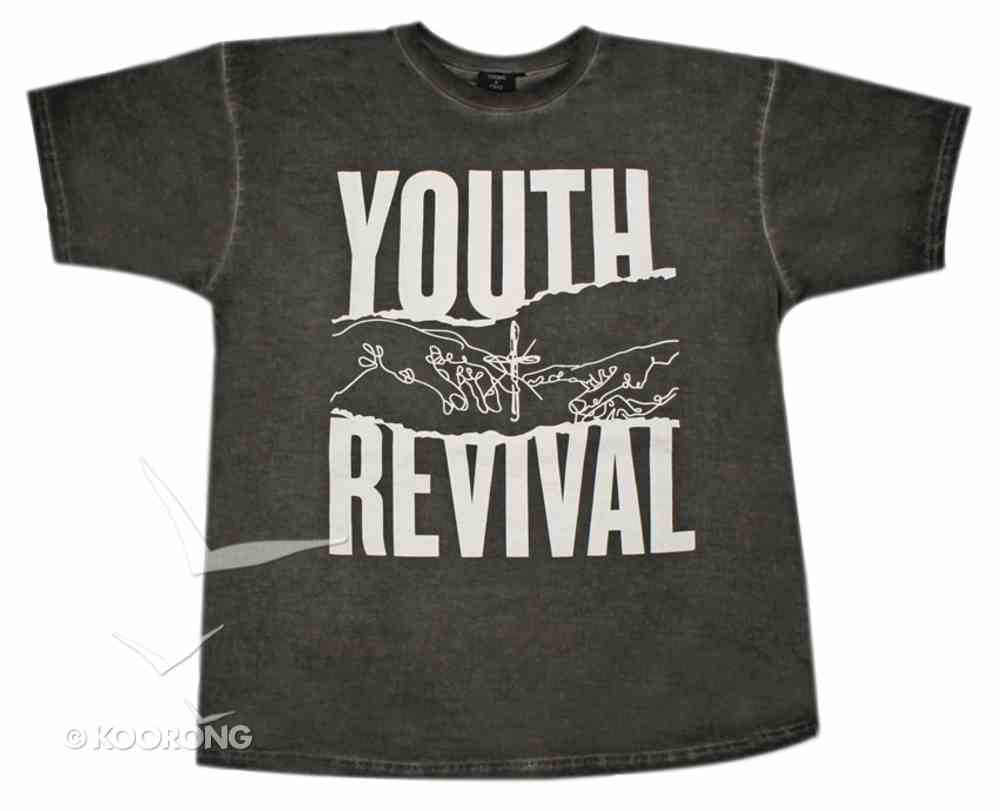 T-Shirt: Youth Revival Large, Black/White Writing Soft Goods