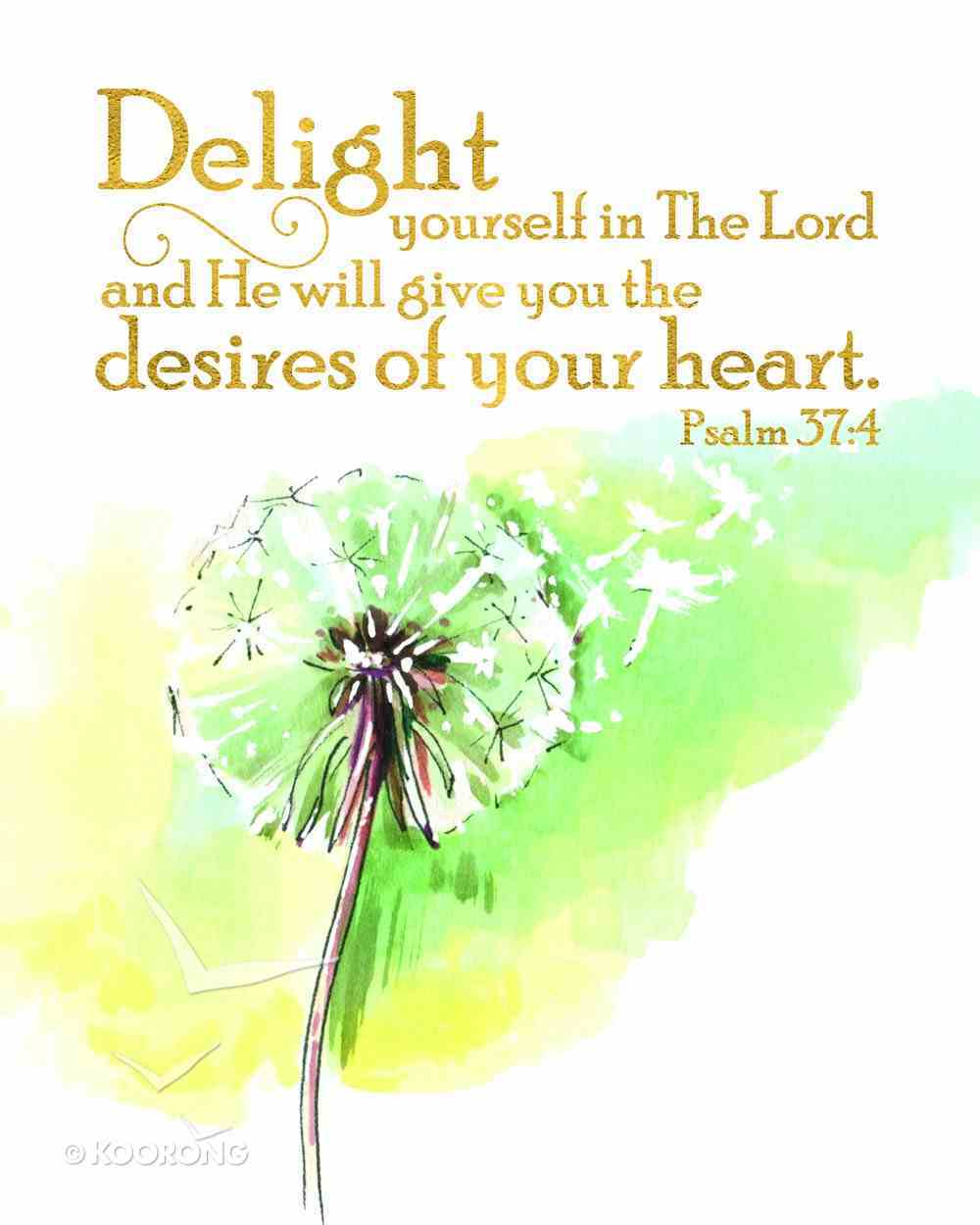 Medium Framed Print: Watercolour Green Flower, Delight, Psalm 37:4 Plaque