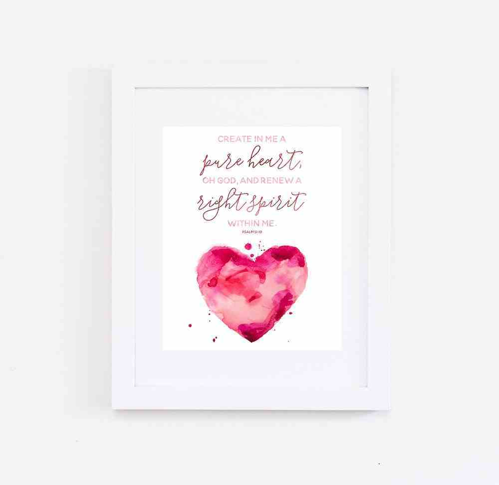 Medium Framed Print: Watercolour Heart, Create in Me, Psalm 51:10 Plaque