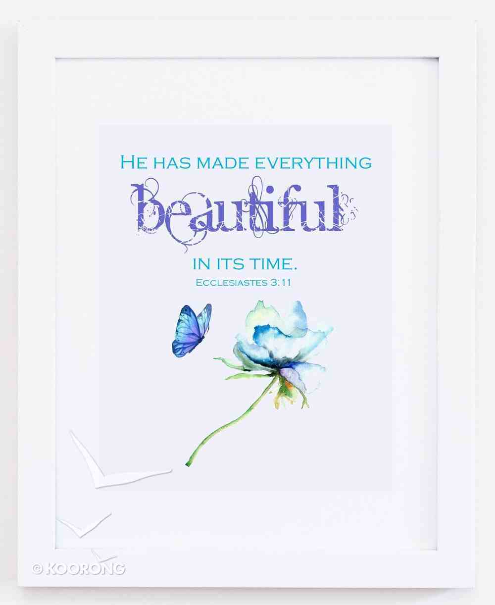 Medium Framed Print: Watercolour Flower With Butterfly - He Has Made Everything Beautiful Ecclesiastes 3:11 Plaque