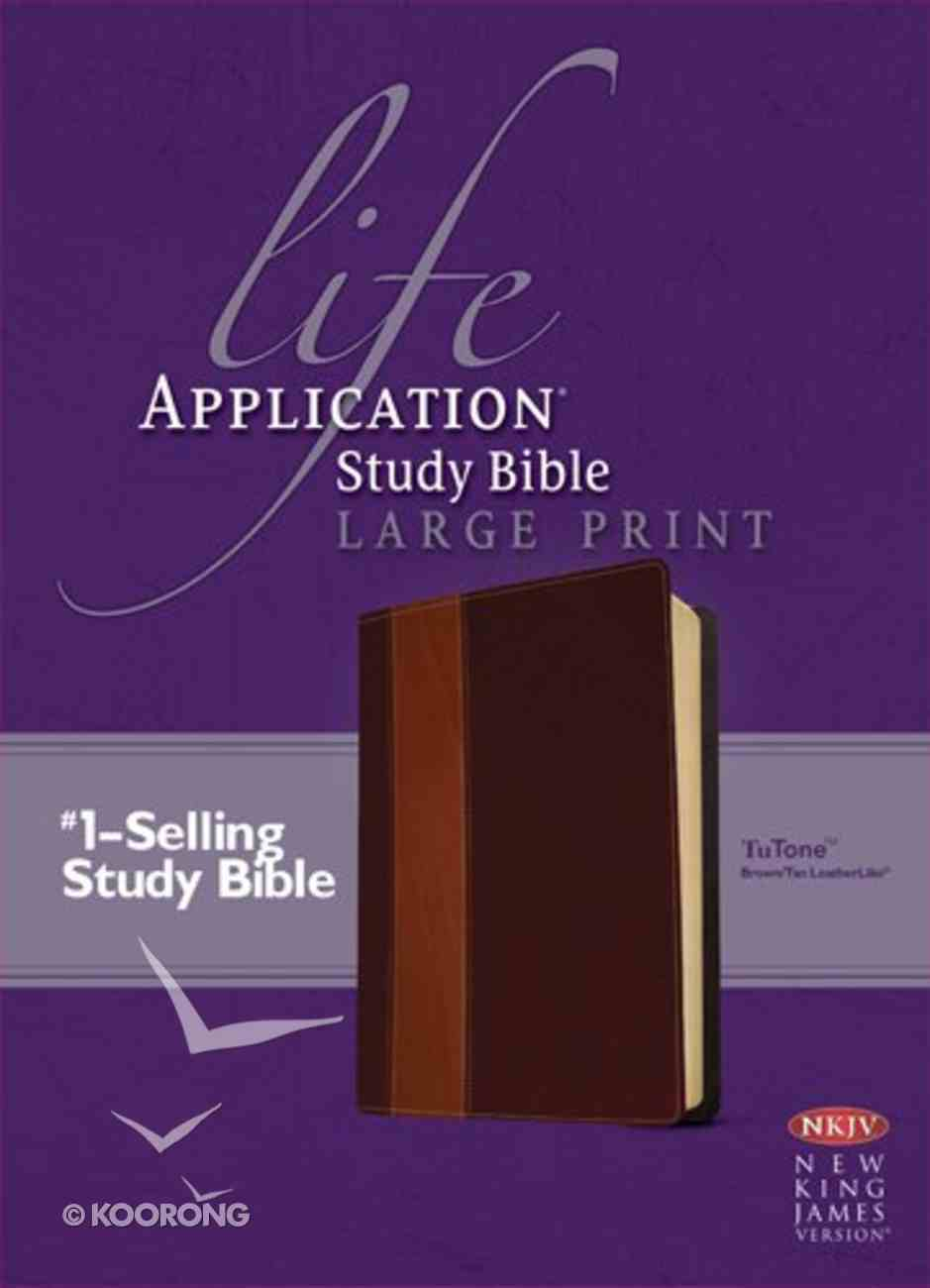NKJV Life Application Study Bible Large Print Brown/Tan 2nd Edition (Red Letter Edition) Imitation Leather