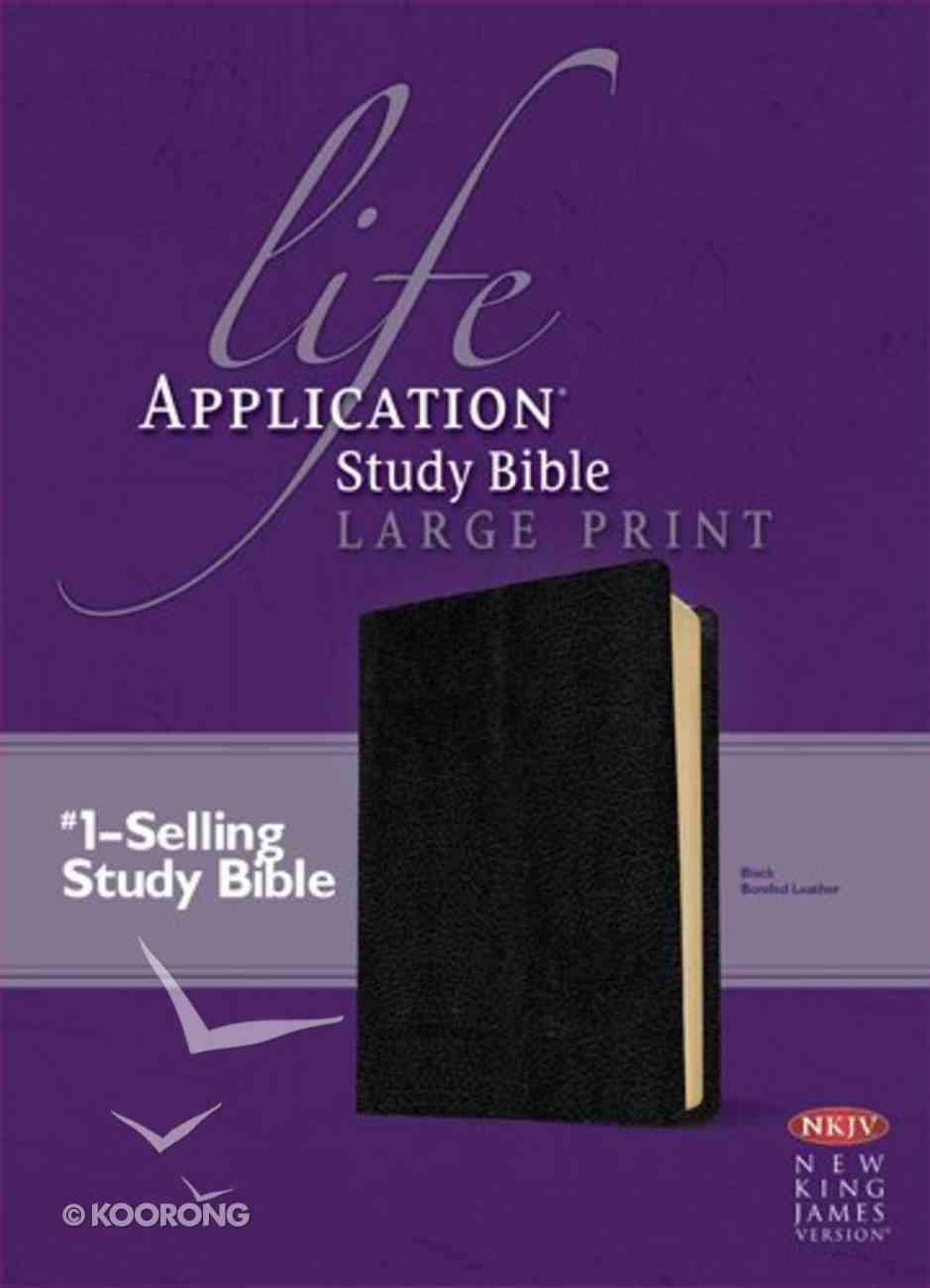 NKJV Life Application Study Bible Large Print Black 2nd Edition (Red Letter Edition) Bonded Leather