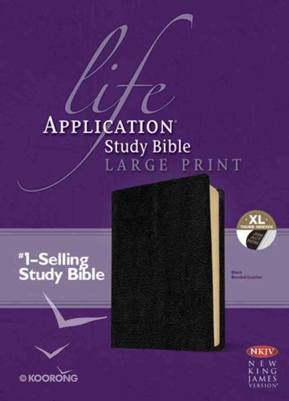NKJV Life Application Study Bible Large Print Indexed Black (Red Letter Edition) Bonded Leather
