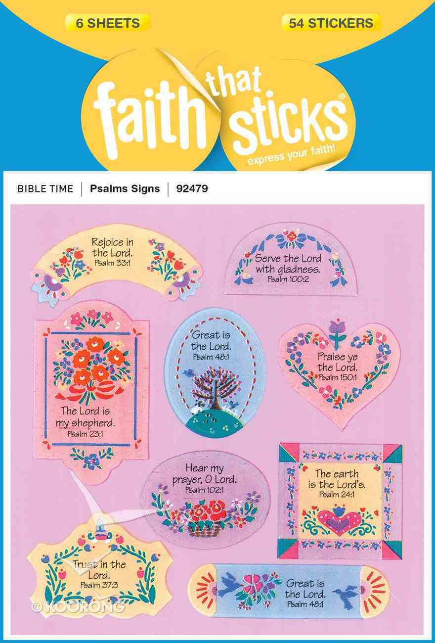 Psalms Signs (6 Sheets, 54 Stickers) (Stickers Faith That Sticks Series) Stickers