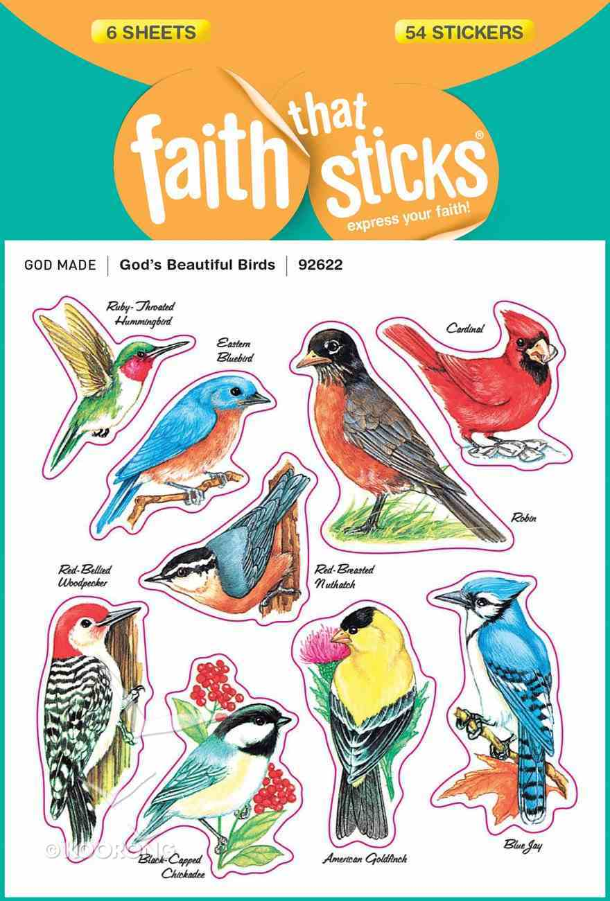 God's Beautiful Birds (6 Sheets, 54 Stickers) (Stickers Faith That Sticks Series) Stickers