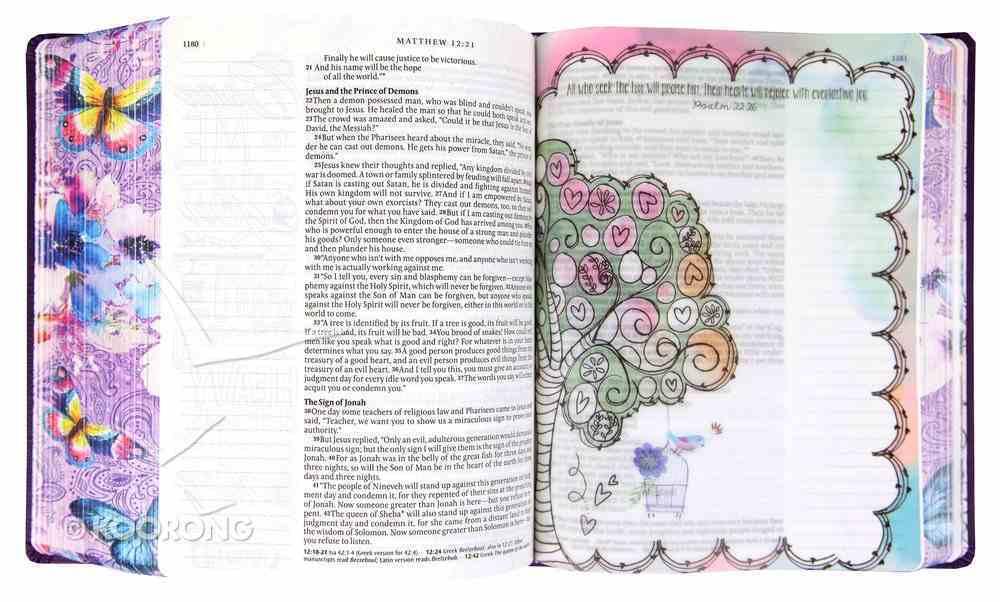 NLT Inspire Praise Bible Purple Garden (Black Letter Edition) Imitation Leather