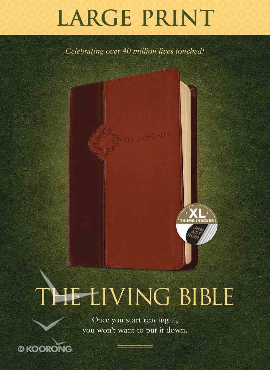 Lbp Living Bible Large Print Edition Brown/Tan Indexed (Black Letter Edition) Imitation Leather