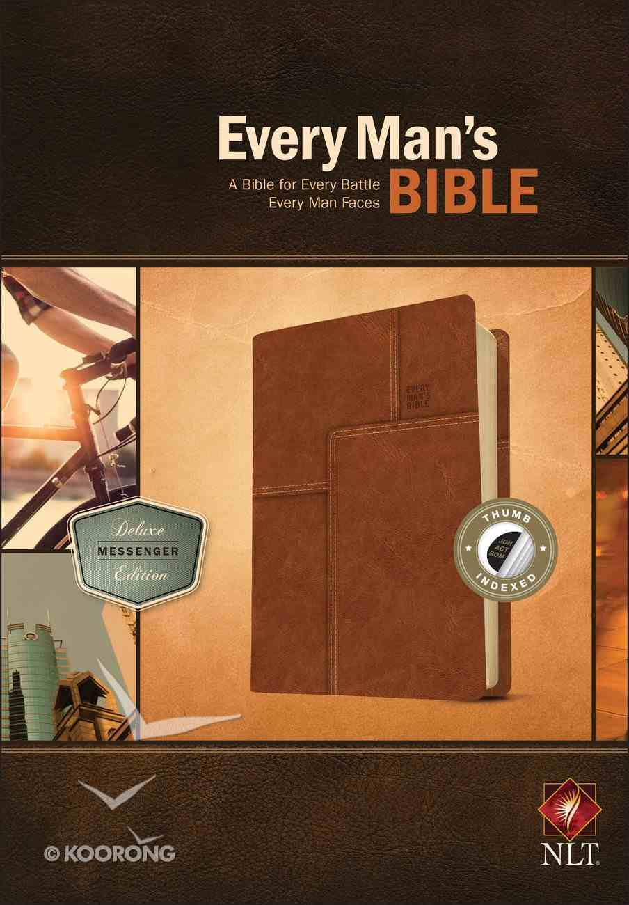 NLT Every Man's Bible Deluxe Messenger Edition Brown Indexed (Black Letter Edition) Imitation Leather