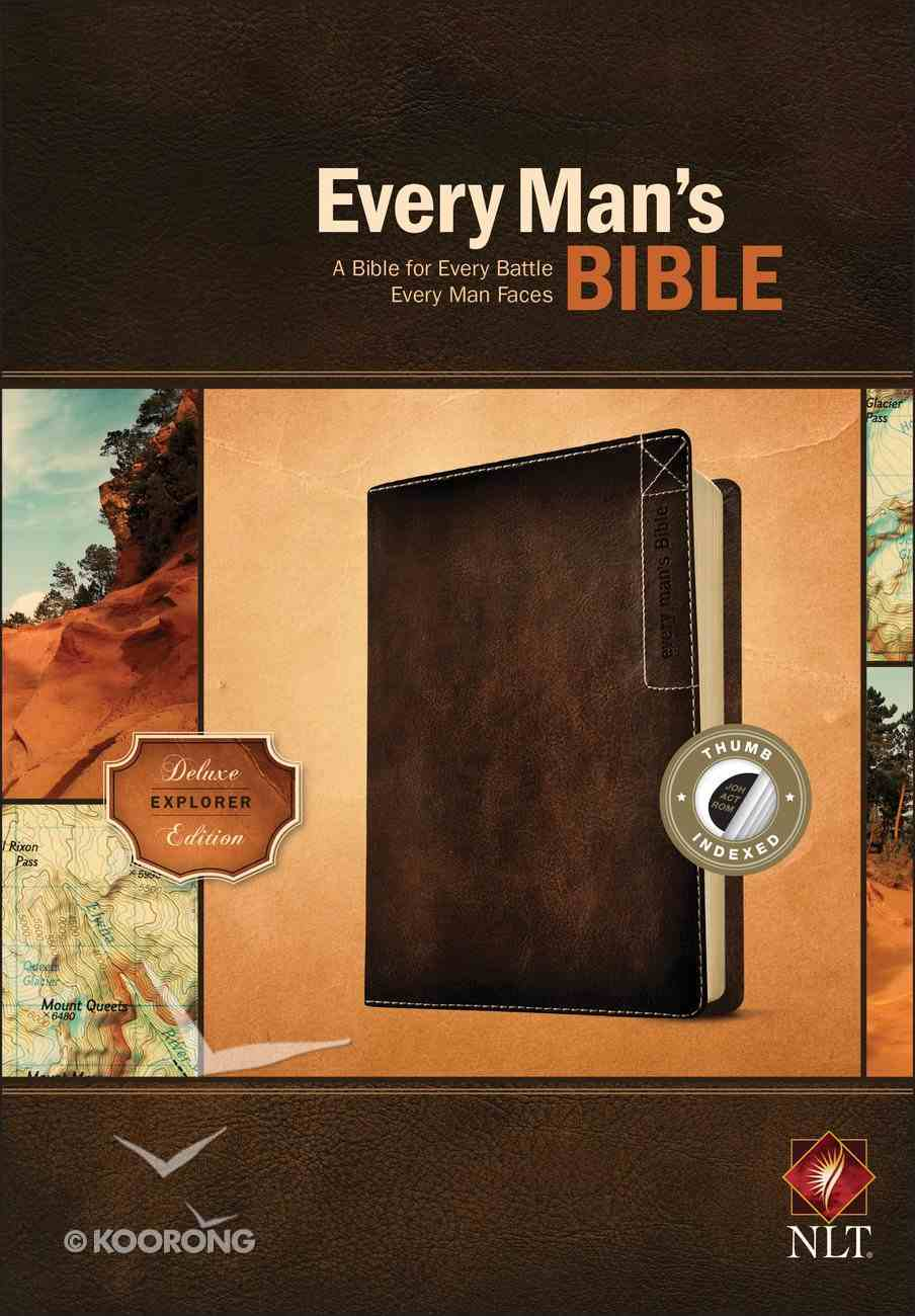 NLT Every Man's Bible Deluxe Explorer Edition Brown Indexed (Black Letter Edition) Imitation Leather