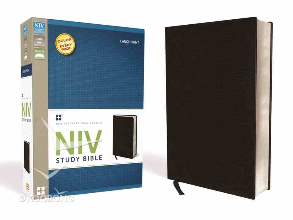 NIV Study Bible Large Print Black (Red Letter Edition) Bonded Leather