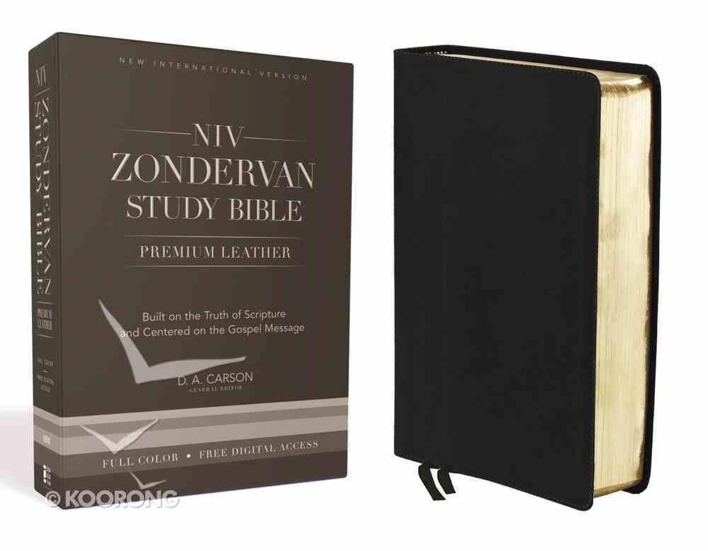NIV Zondervan Study Bible Full Colour Ebony (Black Letter Edition) Genuine Leather