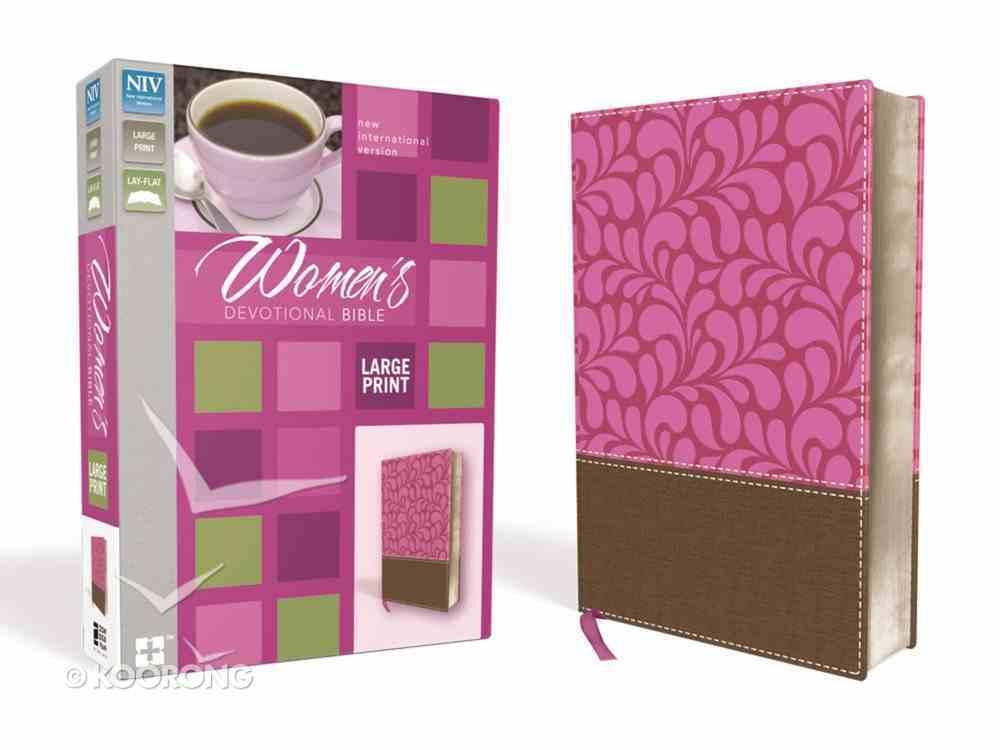 NIV Women's Devotional Bible Large Print Brown/Pink (Black Letter Edition) Premium Imitation Leather