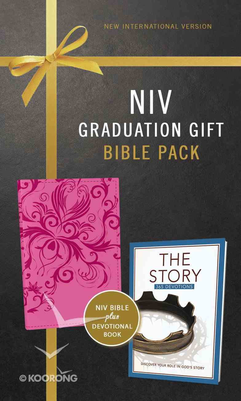 NIV Graduation Gift Bible Pack For Her Pink Includes 365 Day Devotional the Story Red Letter Edition Premium Imitation Leather