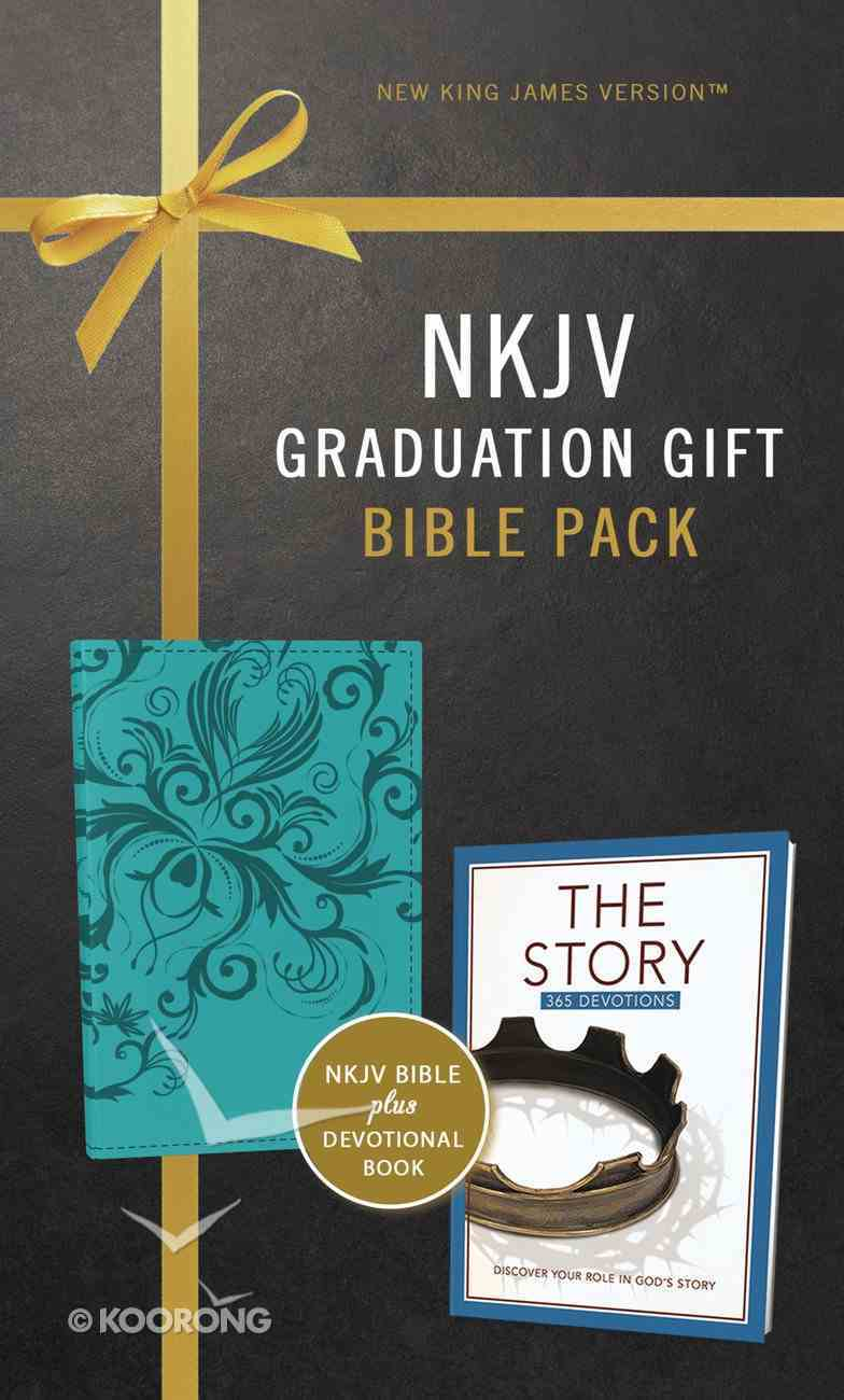 NKJV Graduation Gift Bible Pack For Her Blue Includes 365 Day Devotional the Story (Red Letter Edition) Premium Imitation Leather