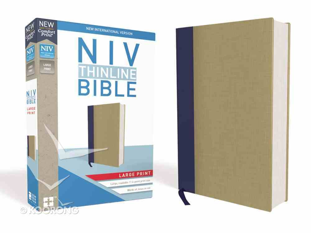 NIV Thinline Bible Large Print Blue/Tan (Red Letter Edition) Hardback