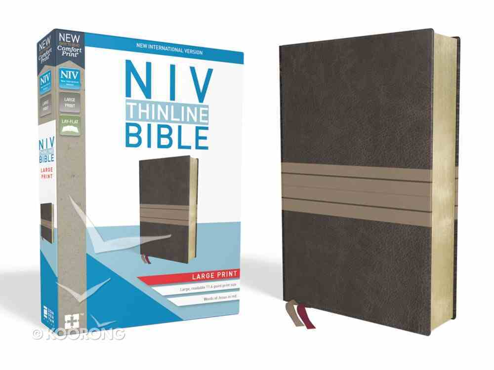 NIV Thinline Bible Large Print Brown/Tan (Red Letter Edition) Premium Imitation Leather