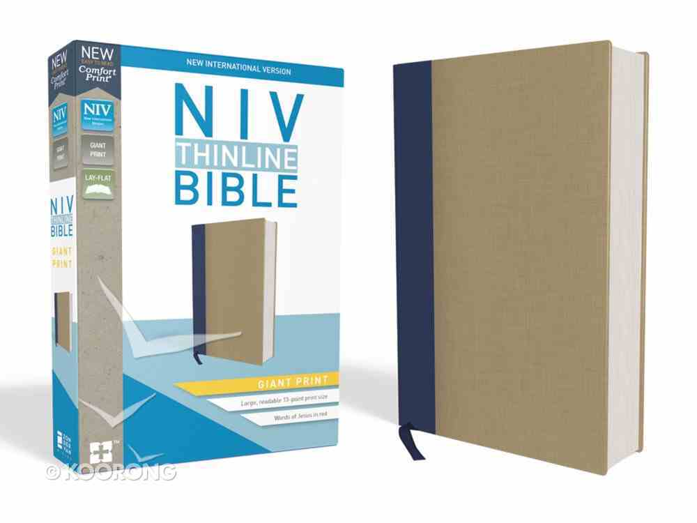NIV Thinline Bible Giant Print Blue/Tan (Red Letter Edition) Hardback