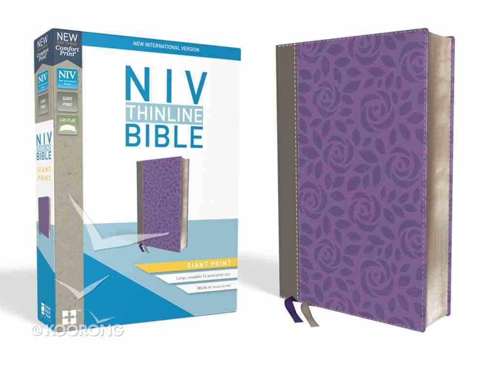 NIV Thinline Bible Giant Print Gray/Purple (Red Letter Edition) Premium Imitation Leather