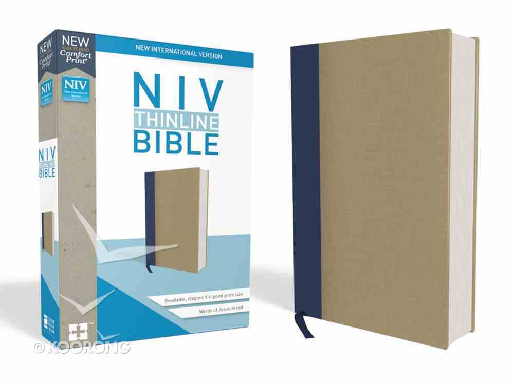 NIV Thinline Bible Blue/Tan (Red Letter Edition) Hardback