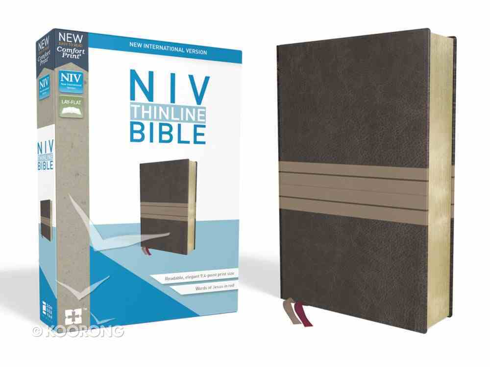 NIV Thinline Bible Brown/Tan (Red Letter Edition) Premium Imitation Leather
