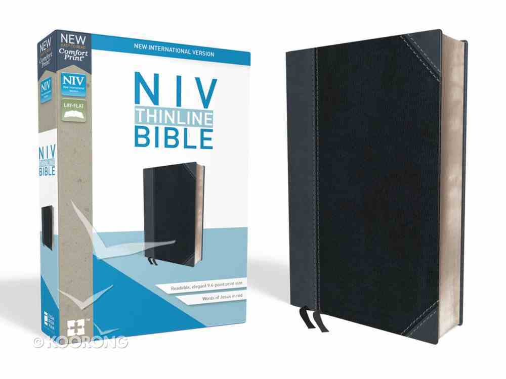 NIV Thinline Bible Black/Gray (Red Letter Edition) Premium Imitation Leather