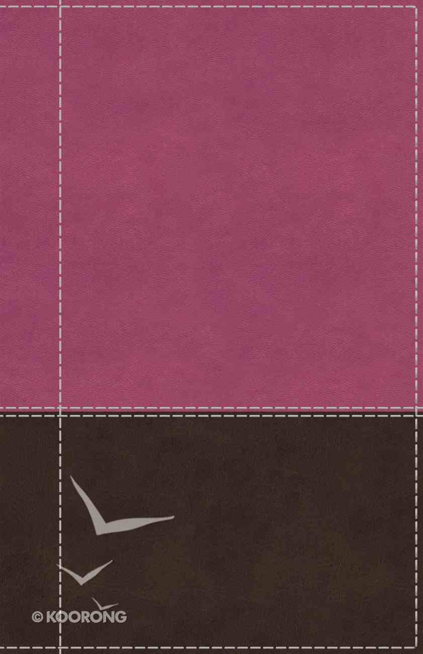 NIV Reference Bible Giant Print Indexed Pink/Brown (Red Letter Edition) Premium Imitation Leather