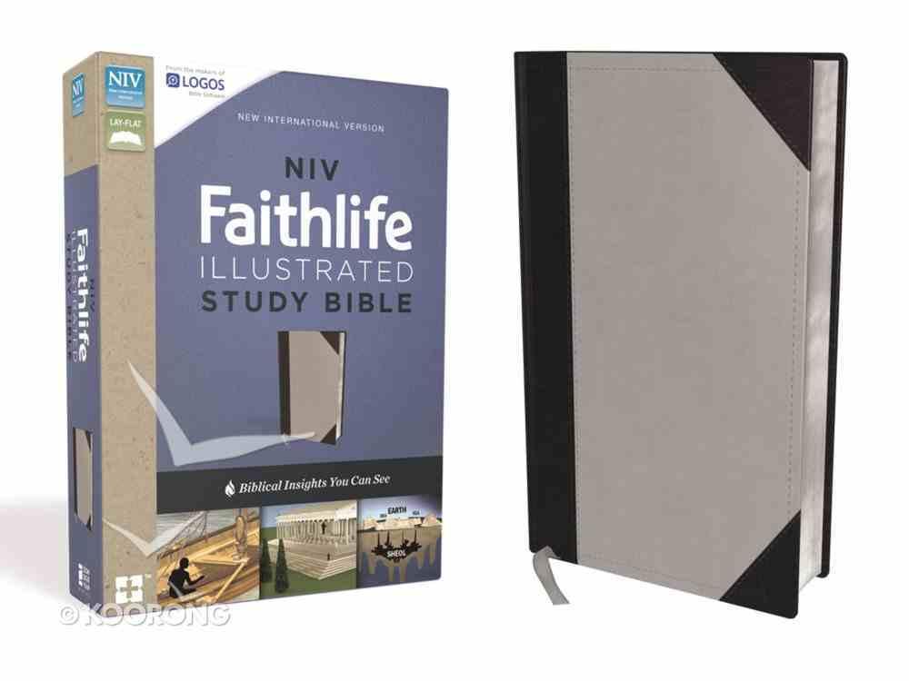 NIV Faithlife Illustrated Study Bible Indexed Gray/Black Premium Imitation Leather