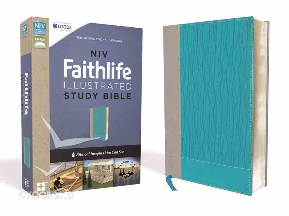 NIV Faithlife Illustrated Study Bible Indexed Gray/Blue Premium Imitation Leather