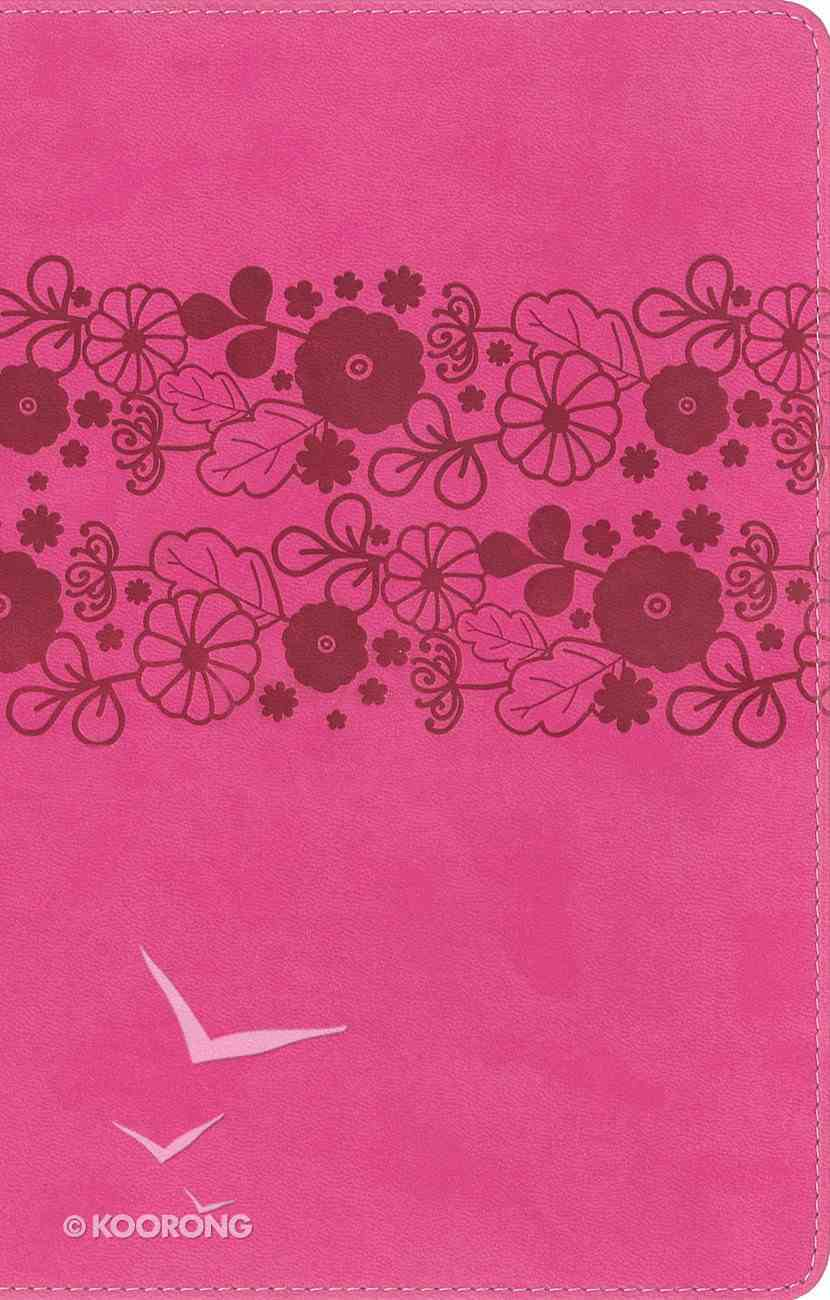 NIRV Large Print Holy Bible Pink Flowers (Black Letter Edition) Premium Imitation Leather