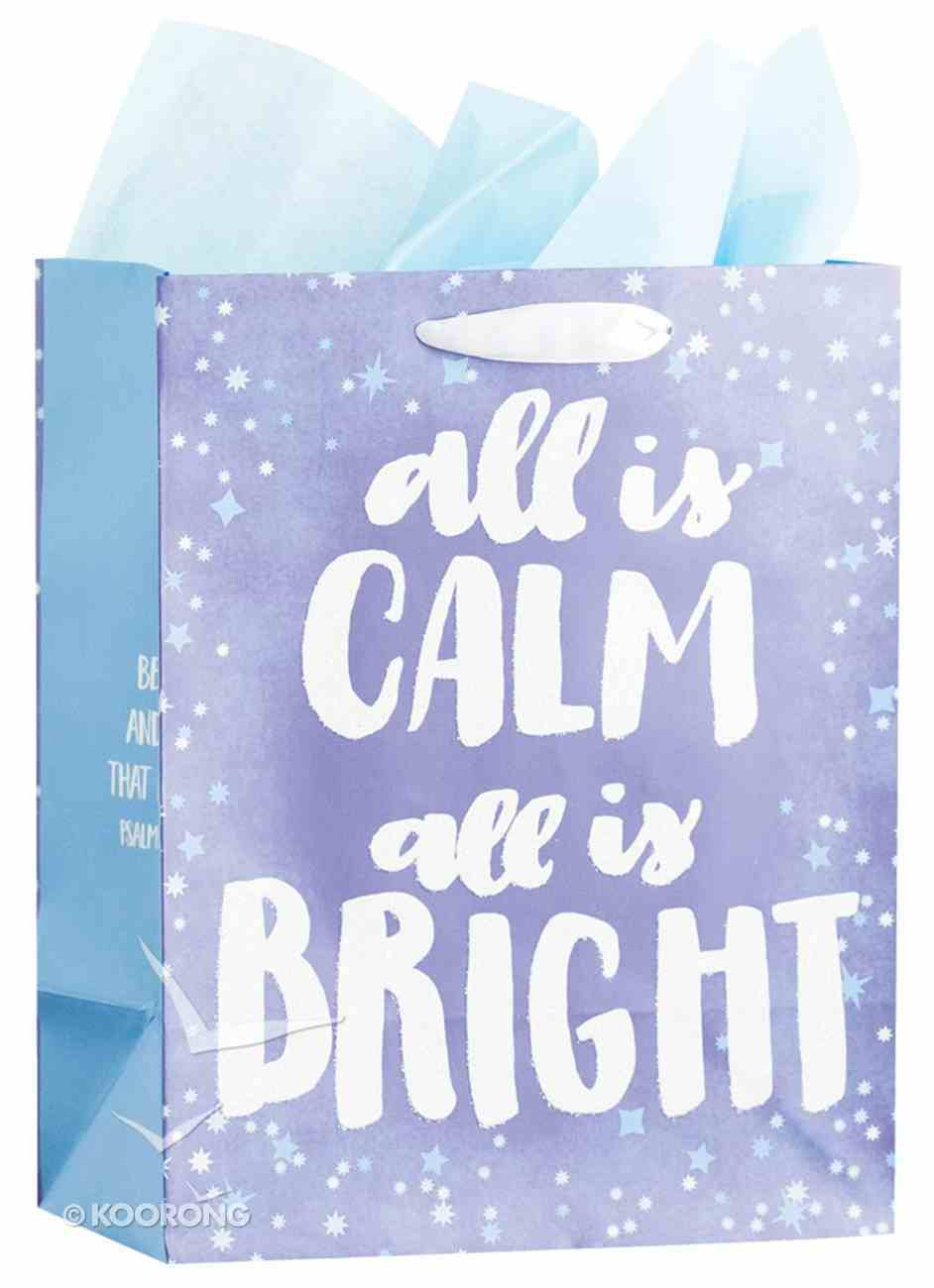 Christmas Gift Bag Medium: Frozen & Bright, All is Calm All is Bright (Psalm 46:10 Kjv) Stationery