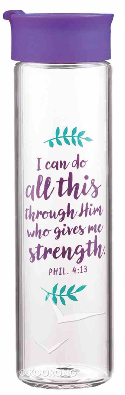 Water Bottle Clear Glass: I Can Do All This Through...Purple/Floral (Phil 4:13) Homeware
