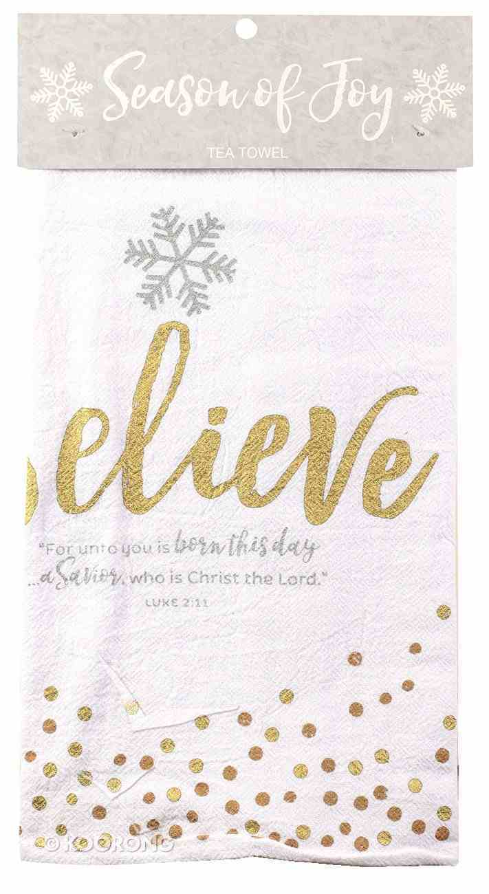 Christmas Cloth Towel Season of Joy: Believe Gold and White (Luke 2:11) Homeware
