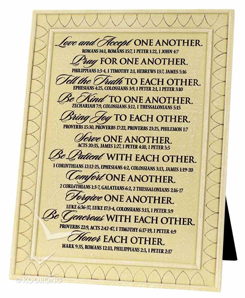 Cast Stone Small Desktop Plaque: One Another (Various Scriptures) Plaque