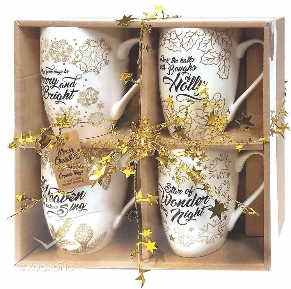 Christmas Ceramic Mug Set of 4: Deck the Halls, Let Heaven, Star of Wonder, May Your Days Homeware
