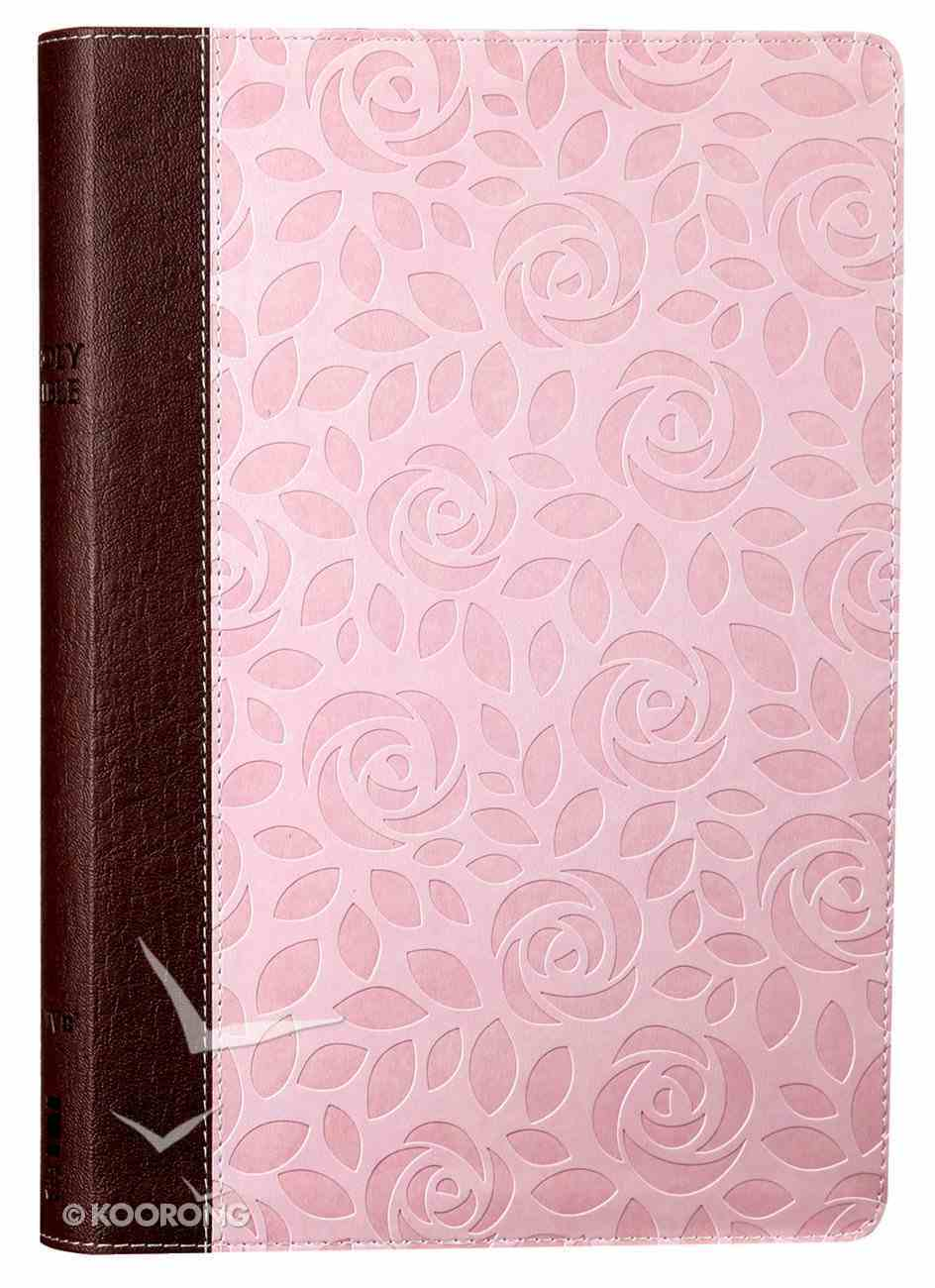 NIV Thinline Bible Large Print Pink Floral (Red Letter Edition) Premium Imitation Leather