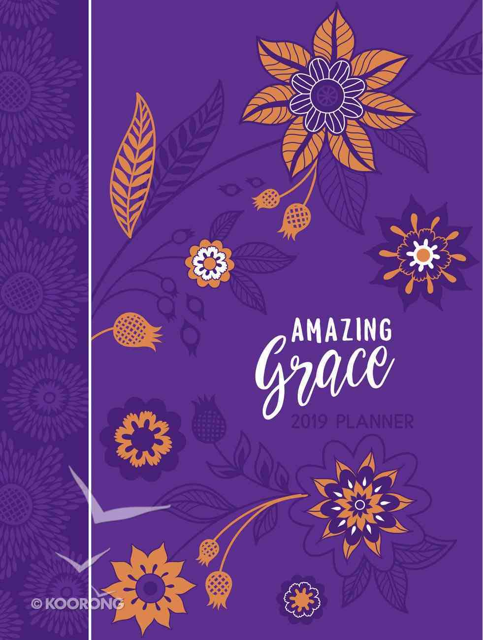 2019 16-Month Weekly Diary/Planner: Amazing Grace, Purple With Orange Flowers Imitation Leather