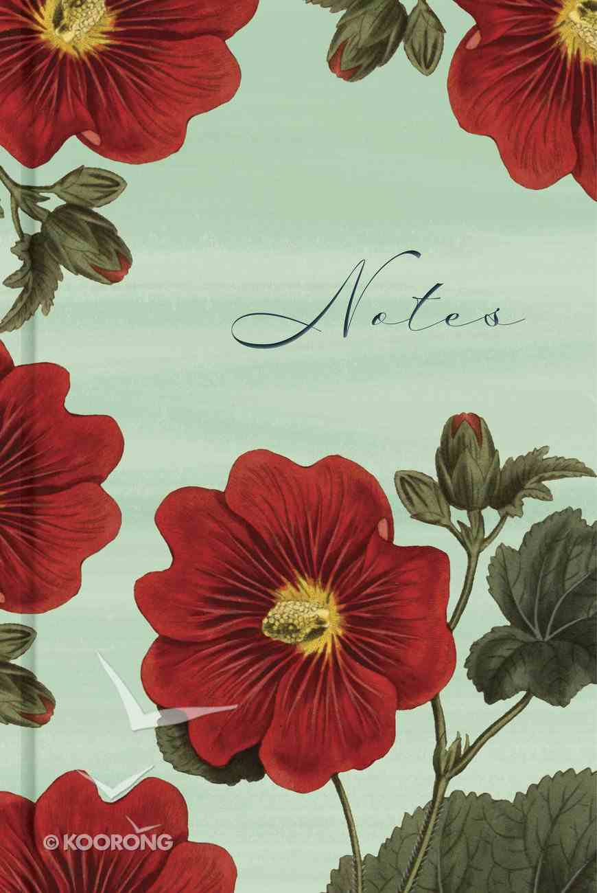 """Journal: Red Blooms """"Notes"""", Scripture Notes Journal, CSB Verse on Every Page Hardback"""