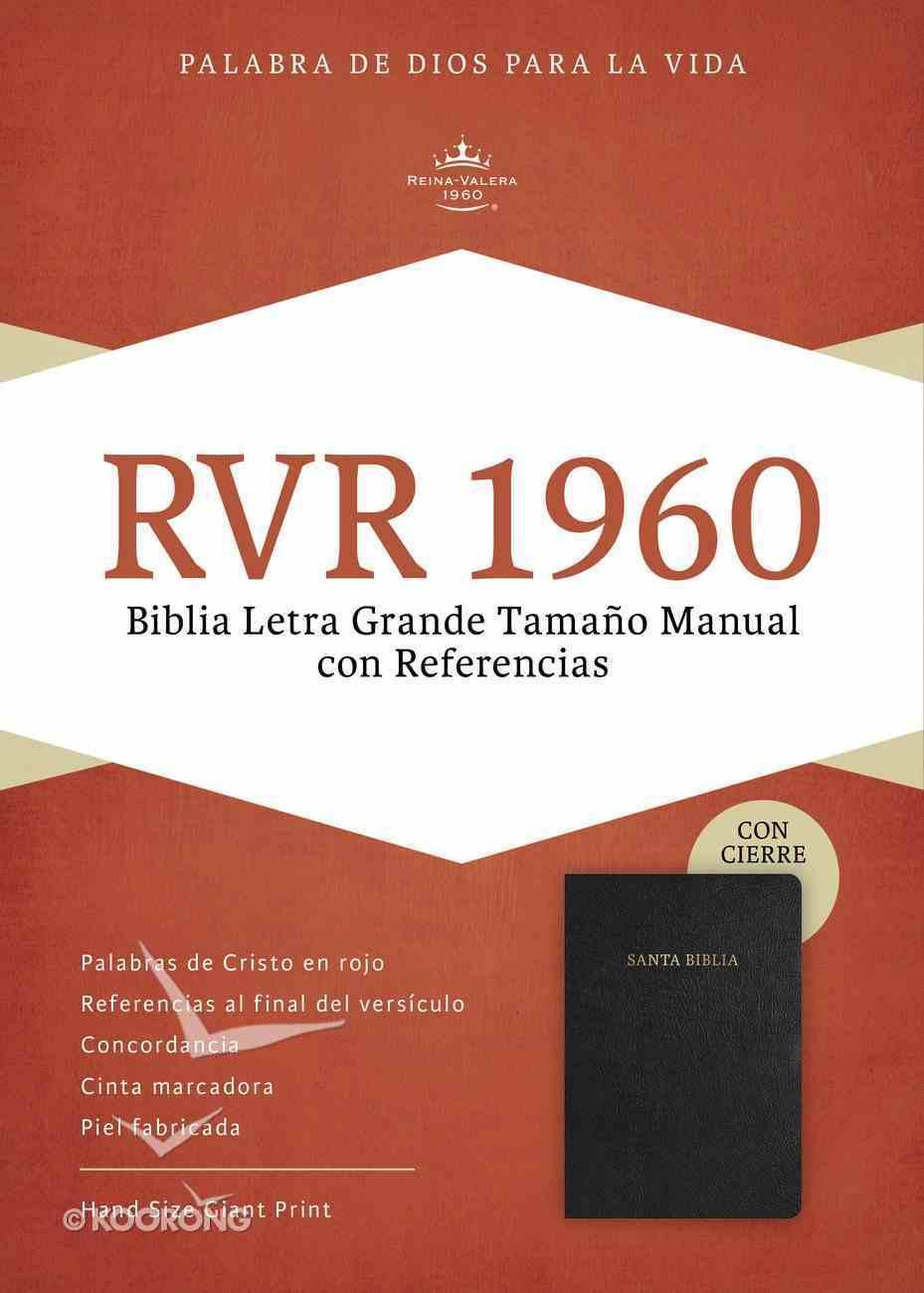 Rvr 1960 Biblia Letra Grande Tamano Manual Negro Piel Fabricada Con Indice Con Cierre (Spanish Bible) Bonded Leather