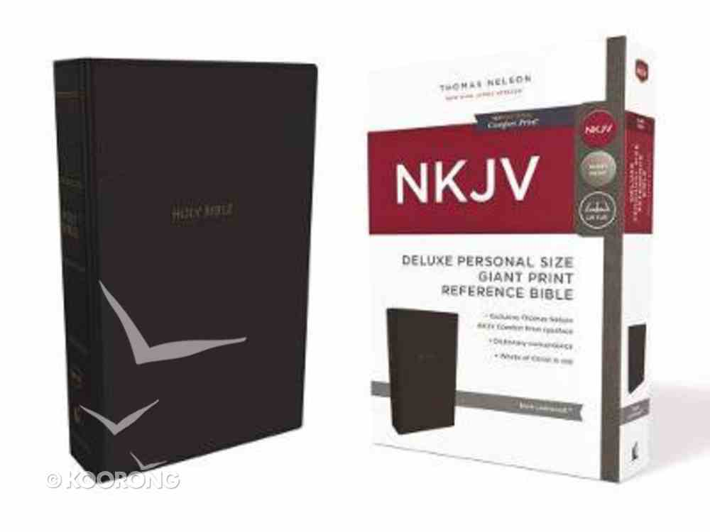 NKJV Deluxe Reference Bible Personal Size Giant Print Black (Red Letter Edition) Premium Imitation Leather