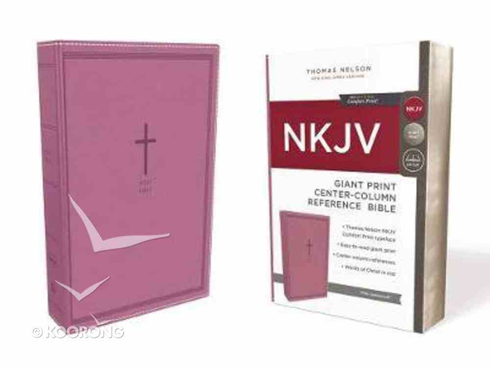 NKJV Reference Bible Giant Print Pink (Red Letter Edition) Premium Imitation Leather