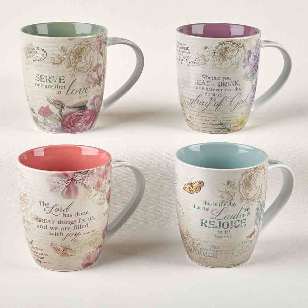 Ceramic Mugs 325ml: Floral Inspirations (Set Of 4) Homeware