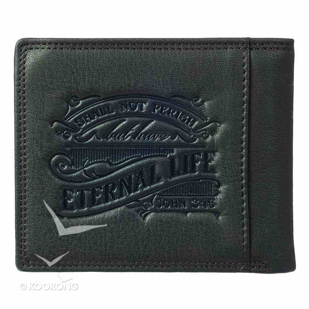 Mens Genuine Leather Wallet: Whoever Believes in Him John 3:16 Soft Goods