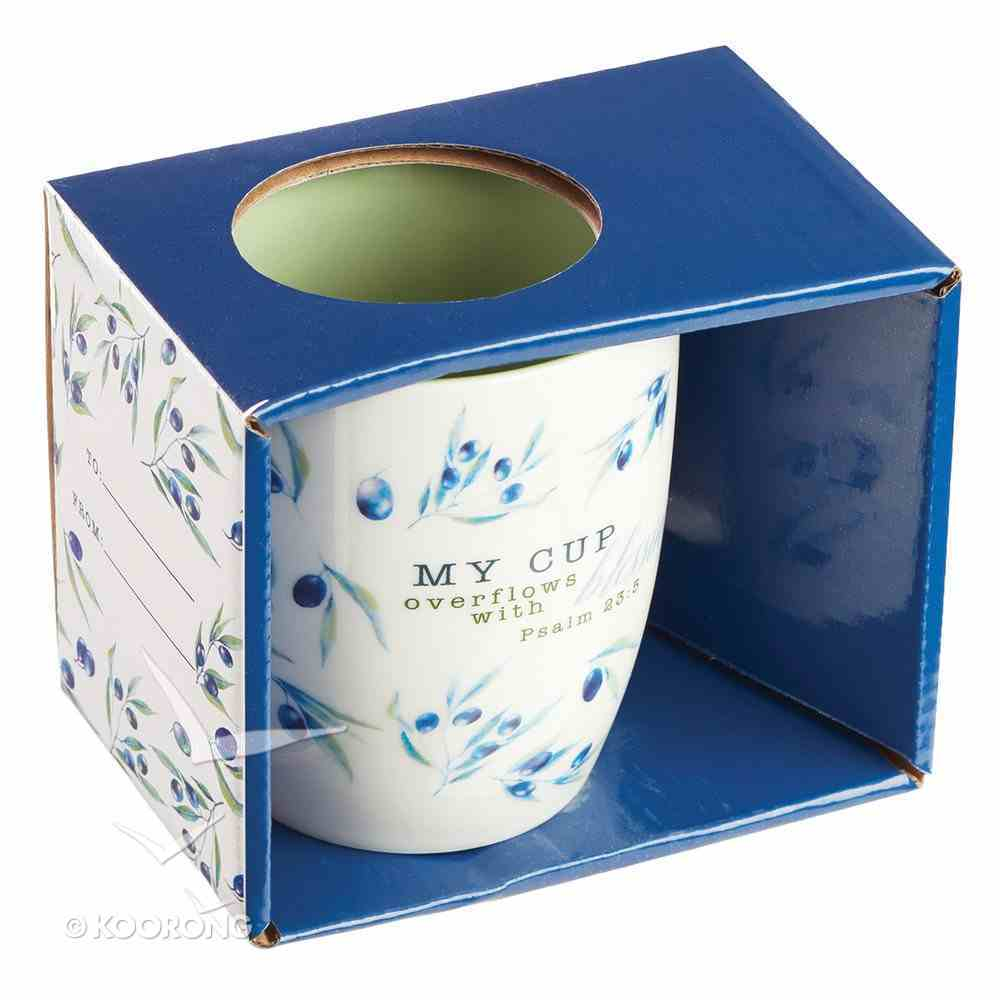 Ceramic Mug: My Cup Overflows With Blessings, White/Blue Flowers (Olive Branch Collection) Homeware