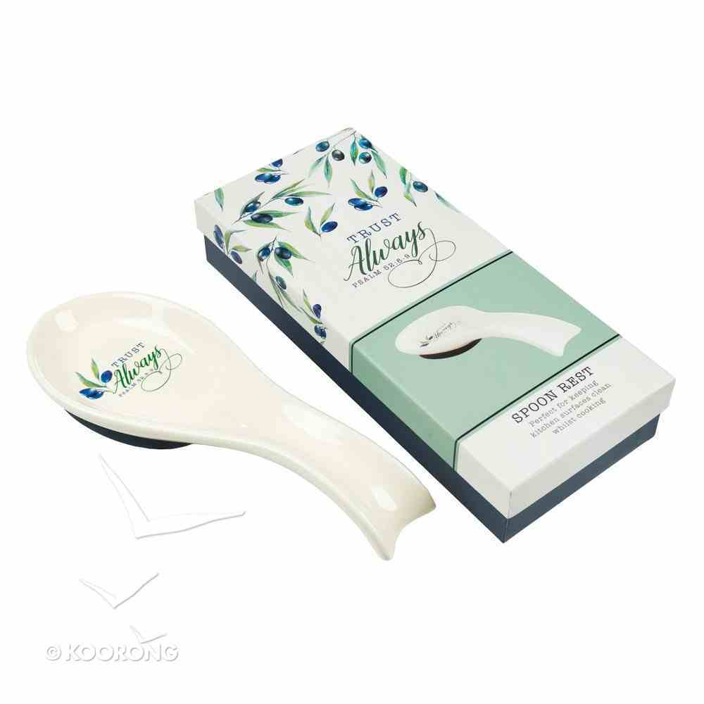 Ceramic Spoon Rest: Trust Always, White/Blue Olive Branch (Psalm 52 8-9) Homeware
