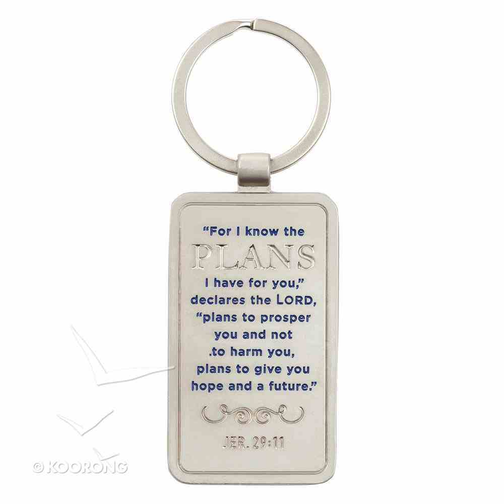 Metal Keyring in Tin: For I Know the Plans I Have For You.....Blue Diamond Pattern Novelty